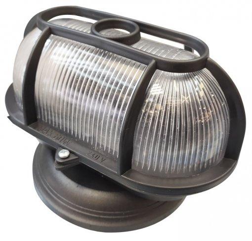 Arandela Tartaruga Preta Com Grade e Base p/ Lâmpada E27