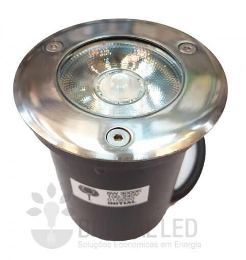 Balizador Embutir Solo Chão 6W LED IP67 Biv 3000K Branco Quente
