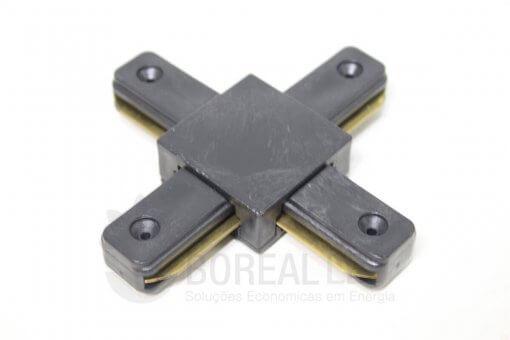 Conector Emenda X Cruz p/ Trilho Eletrificado Preto