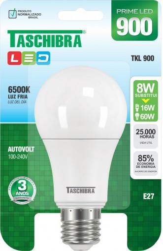Lâmpada LED Certificada Taschibra Bulbo 8W Branco Bivolt