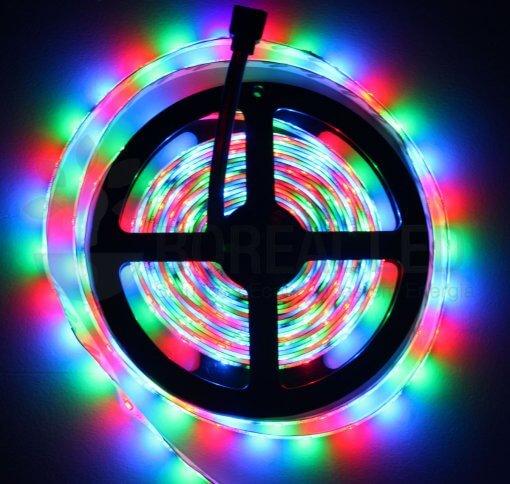 Fita LED 5m Ultra RGB 3528 Prova D,agua + Controle + Fonte Colorida