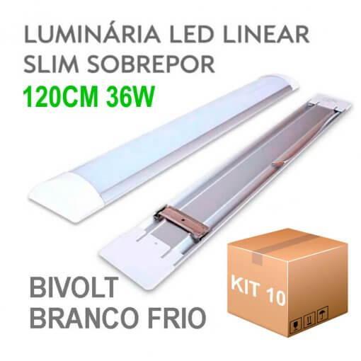 Kit 10 Lâmpada LED Linear Tubular 36W 120cm Sobrepor Luz Branco Frio 6500K