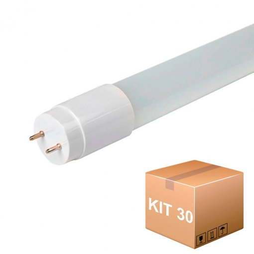 Kit 30 Lâmpada LED Tubular 9W Bivolt T8 60cm Luz Branca Fria 6500K G13