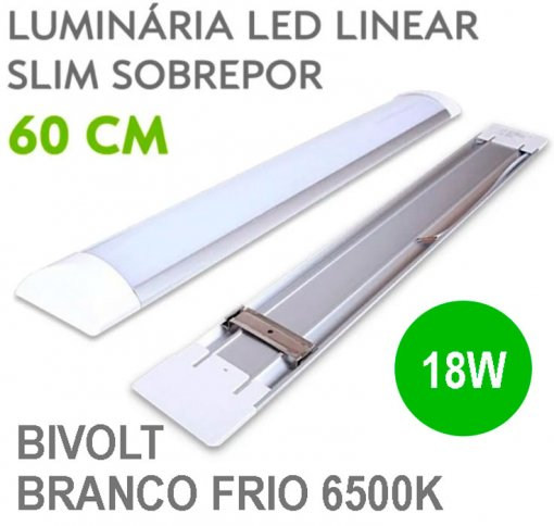 Lâmpada LED Linear Tubular 18W 60cm Sobrepor Luz Branco Frio 6500K