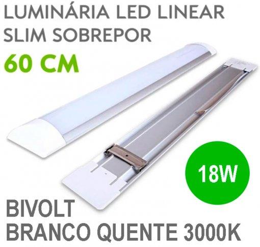 Lâmpada LED Linear Tubular 18W 60cm Sobrepor Luz Branco Quente 3000K