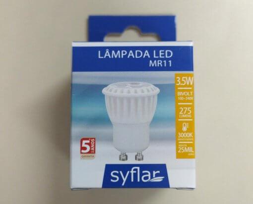 Lâmpada LED MR11 Mini Dicroica 3.5W GU10 Bivolt Branco Quente