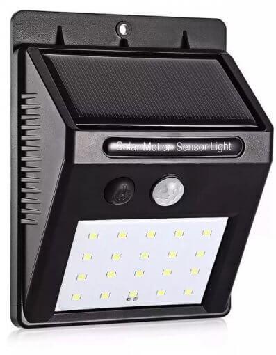 Luminária Arandela Solar Parede 20 LEDS C/ Sensor de Presença IP65