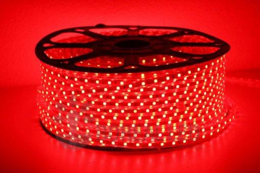 Mangueira LED 5050 Chata 6mm 600 LEDS 100 Metros Vermelha 110V