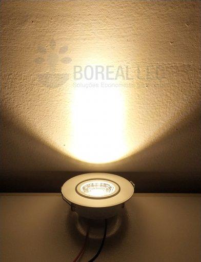 Mini Spot LED COB 3W Redondo 6,6X6,6cm Direcionavel Branco Quente