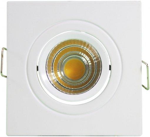 Mini Spot LED COB Quadrado 3W 6X6cm Direcionável Branco Quente