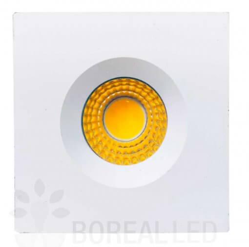Mini Spot LED Embutir 3W Quadrado 4,6x4,6cm Fixo Branco Quente