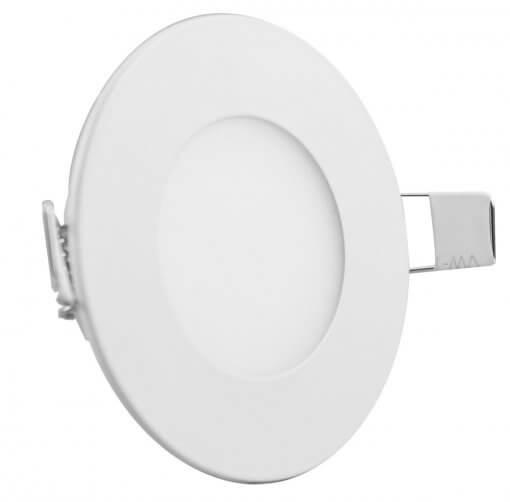 Painel Plafon LED 3W Embutir Redondo 9cm Branco Quente