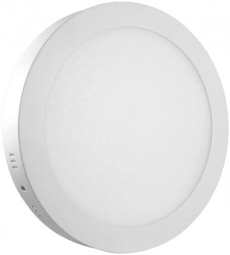Painel Plafon LED Sobrepor 18W Redondo 22cm Branco Quente