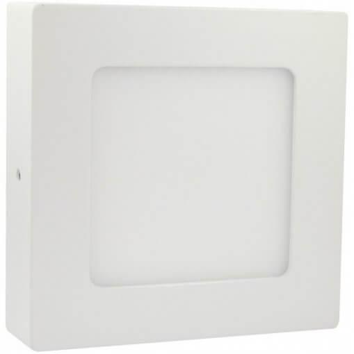 Painel Plafon LED Sobrepor 6W Quadrado 12x12cm Branco Quente