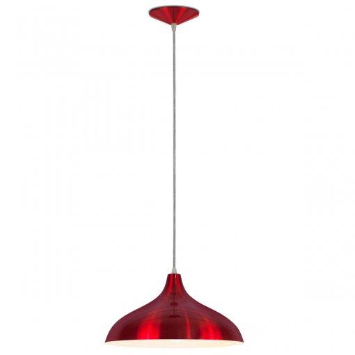 Pendente Pera Grande Alumínio Vermelho Verniz Metalizado Bocal E27 Nacional Iluminação