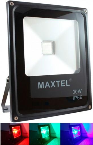 Refletor Holofote LED RGB 30W IP66 com Controle Remoto