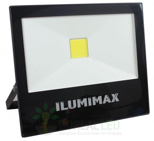 Refletor LED COB Slim 50W IP65 Preto Bivolt Ilumimax