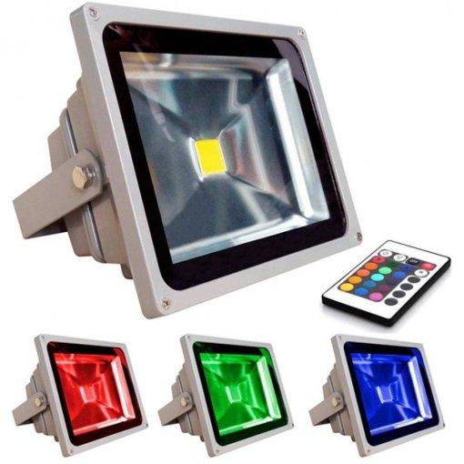 Refletor LED Holofote 50W RGB Colorido Controle Remoto 16 Cores Bivolt CTB