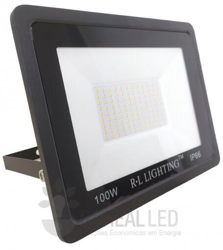 Refletor LED SMD 100W Branco Quente Bivolt IP66 10.000lm Ângulo 120º