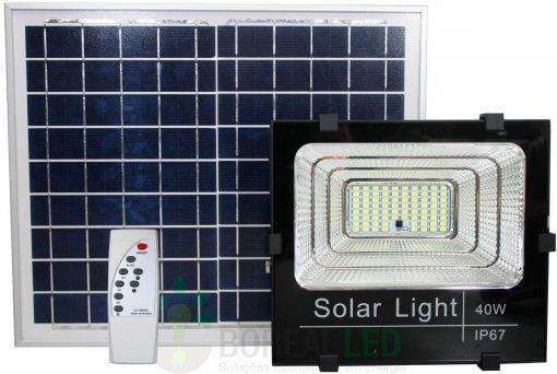 Refletor LED SMD Solar 40W IP67 6000K 120º Controle Remoto + Placa Fotovoltaica
