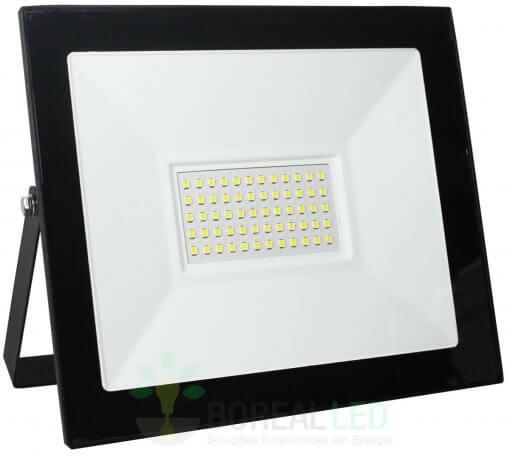 Refletor Micro LED SMD Slim 50W IP66 Fundo Branco Acabamento Preto