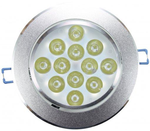 Spot de Embutir LED 12W Redondo Borda Prateada Bivolt Power XL