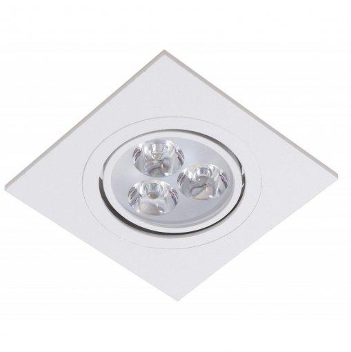 Spot Embutir LED 3W Quadrado Borda Branca Bivolt A.XU