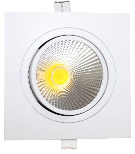 Spot de Embutir LED COB Quadrado Metal 10W Luz Branco Quente