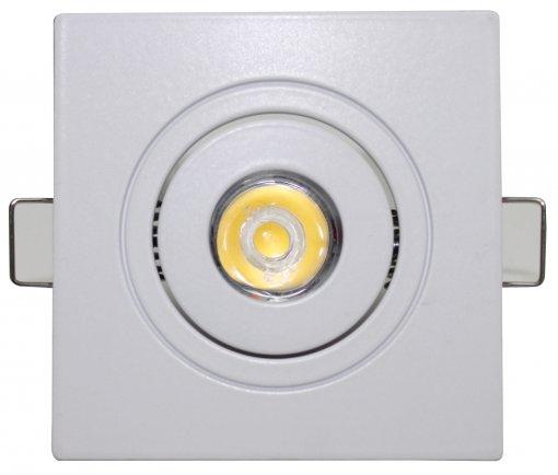 Spot LED Embutir 1W Quadrado Direcionável Branco Frio