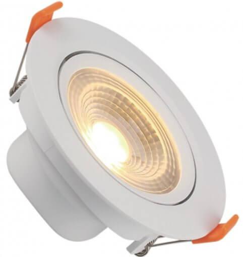 Spot Downlight LED 7W Embutir Redondo Direcionável Luz Quente ROYA