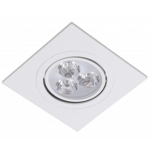 Spot Embutir LED 3W Quadrado Direcionavel Branco Frio