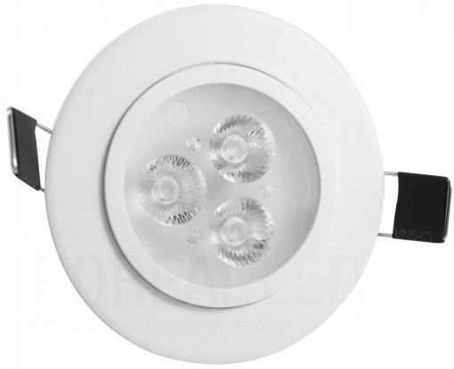 Spot LED 3W Redondo 8cm Direcionavel Branco Frio