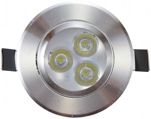 Spot de Embutir LED Redondo 3W Borda Prateada Branco Frio 6000k Bivolt CTB