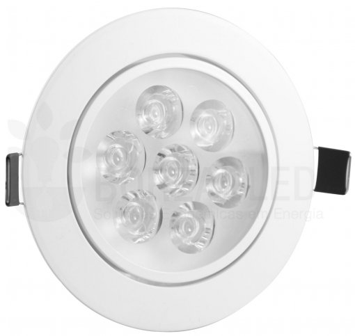 Spot LED 7W Redondo Borda Branca Direcionável Bivolt A.XU