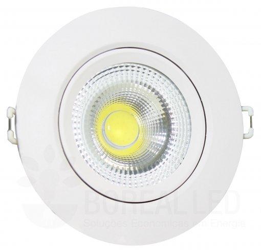 Spot LED COB Embutir 7W Redondo Branco Quente