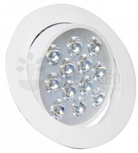 Spot LED Embutir 12W Redondo Direcionável Luz Branco Quente