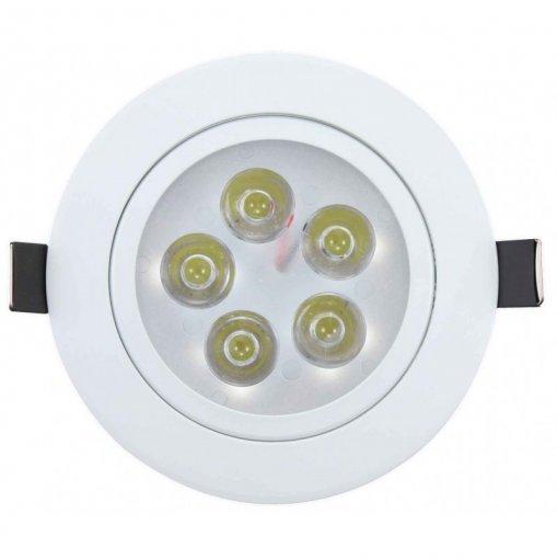 Spot LED Embutir 5W Redondo Direcionavel Branco Quente