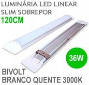 Imagem - Lâmpada LED Linear Tubular 36W 120cm Sobrepor Luz Branco Quente 3000K cód: LINEAR-120CM-BQ