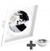 Imagem - Spot Embutir Recuado Quadrado 17x17cm + Lâmpada AR111 LED 11W GU10 3000K cód: SE-330-1064-AR111-LED-11W-3000K