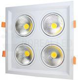 Imagem - Spot LED Recuado Quadruplo Quadrado 10W/40W Branco Quente cód: SPOTDP10WBQ