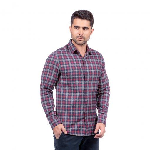 Camisa de Flanela Xadrez Slim Ref 80465 Bordô