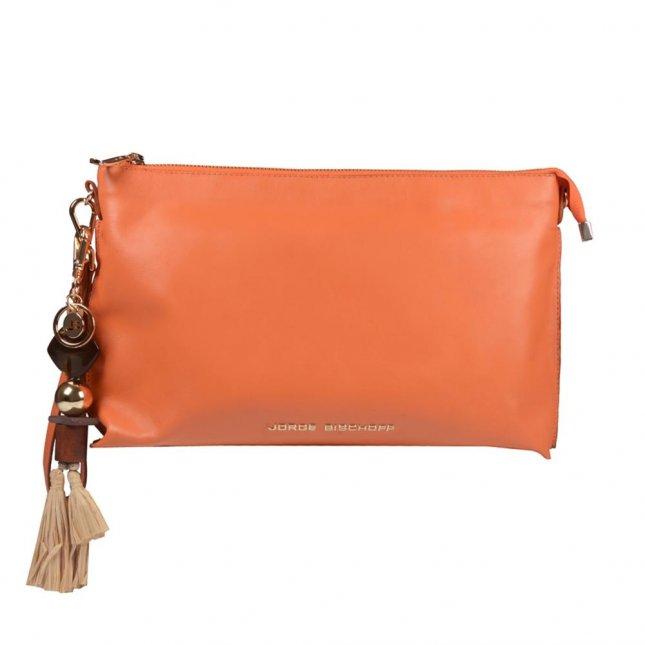 Clutch Couro Tangerina com Bag Charm V21