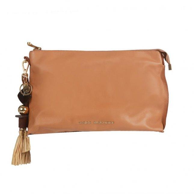 Clutch Couro Natural com Bag Charm V21