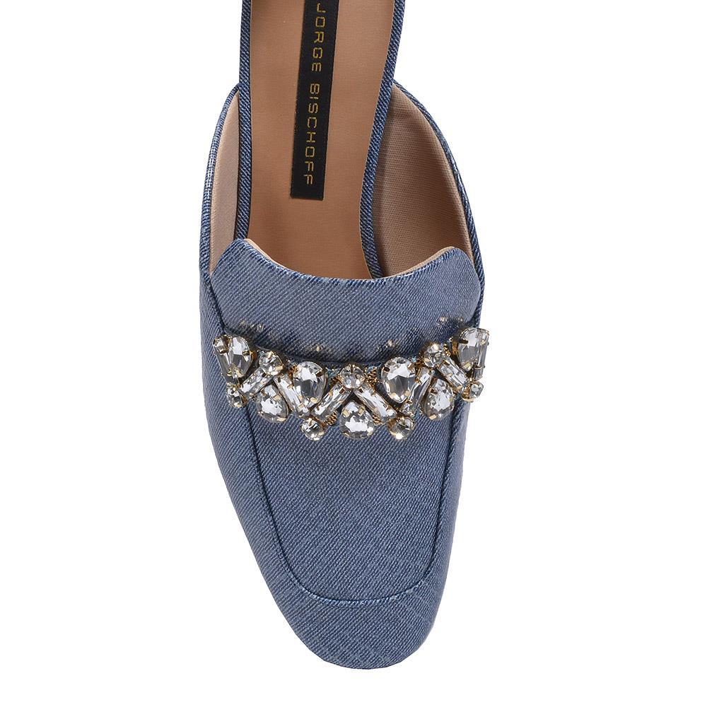 Mule Couro Jeans Azul Náutico com Pedrarias V20 2