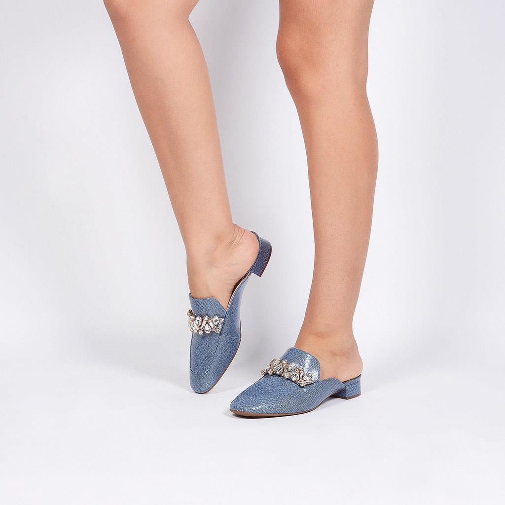 Mule Couro Jeans Azul Náutico com Pedrarias V20 3