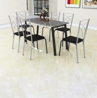 Cj Mesa Turquesa 06 Cadeiras Roma Preto Ardosia Cinza Tubform