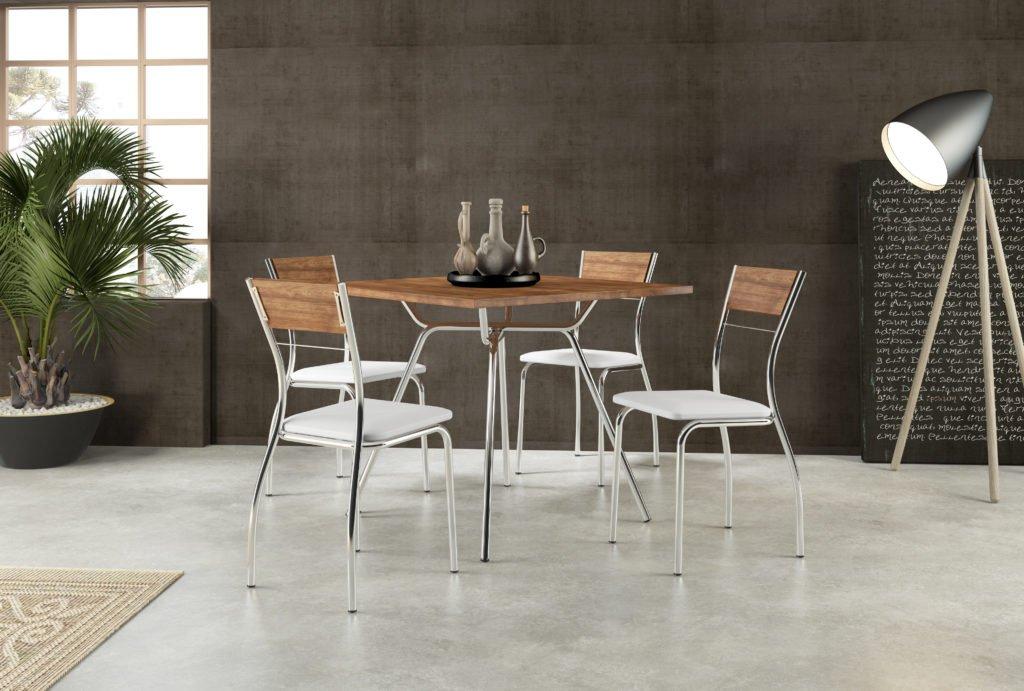 Conj. Mesa + Cadeira Cromada Carraro