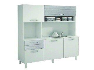 Cozinha Durand Dora 5 Portas E 2 Gavetas Branco Com Preto