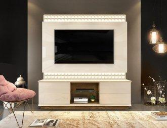 Estante Home para Tv 65 polegadas PRATI com LED 100% MDF OFF WHITE/DEMOLICAO - Dj Móveis