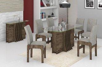 Sala de Jantar Mesa Radiante c/6 cadeiras Teka
